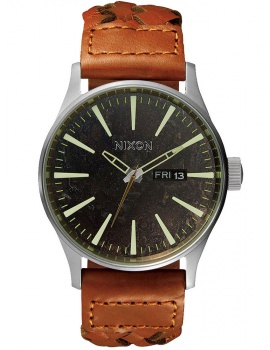 NIXON A105-1959 Sentry Leather Dark Copper Saddle Woven 42mm 10 ATM