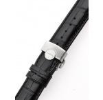 Perigaum Leather Strap 22 x 175 mm Black Silver Folding Clasp