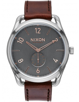 NIXON A465-2064 C45 Leather Gray Ružové Gold 45mm 10 ATM