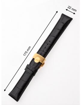 Perigaum Leather Strap 22 x 175 mm Black Gold Folding Clasp